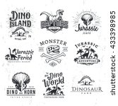 big dinosaur vector logo set.... | Shutterstock .eps vector #433398985
