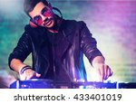 dj playing music at mixer on... | Shutterstock . vector #433401019