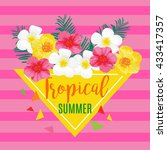 tropical summer poster with... | Shutterstock .eps vector #433417357