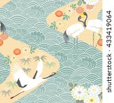 seamless pattern with birds.... | Shutterstock .eps vector #433419064