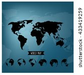 set of world globe and world... | Shutterstock .eps vector #433419259