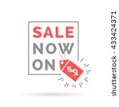 red sale now on promo sign with ... | Shutterstock .eps vector #433424371