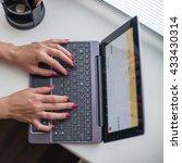 female hands working on... | Shutterstock . vector #433430314