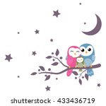 couples of owls family sitting... | Shutterstock .eps vector #433436719