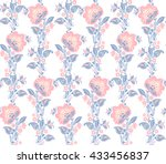 romantic seamless floral... | Shutterstock .eps vector #433456837