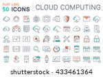 set vector line icons in flat... | Shutterstock .eps vector #433461364