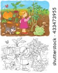 in the garden. a cute girl and... | Shutterstock . vector #433473955