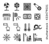 fan  air conditioner icon set | Shutterstock .eps vector #433479031