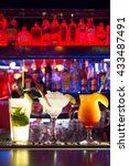 cocktails at the bar. shine.... | Shutterstock . vector #433487491