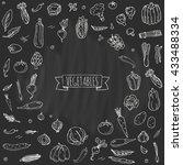 hand drawn doodle vegetables... | Shutterstock .eps vector #433488334