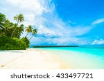 beautiful tropical beach and... | Shutterstock . vector #433497721
