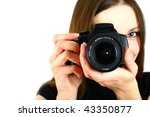 Woman With Camera Isolated On...