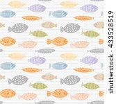 sea life watercolor pattern... | Shutterstock .eps vector #433528519