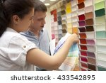 couple select paint color and... | Shutterstock . vector #433542895