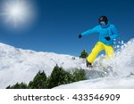 active man in ski outfit riding ... | Shutterstock . vector #433546909