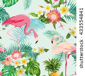 tropical flowers and birds... | Shutterstock .eps vector #433554841