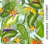 seamless pattern. tropical palm ... | Shutterstock .eps vector #433554847