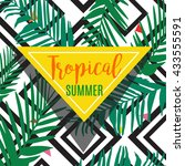 palm leaves background with... | Shutterstock .eps vector #433555591