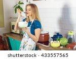 beautiful young housewife... | Shutterstock . vector #433557565