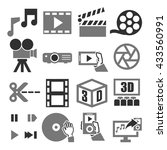movie  video  icon set | Shutterstock .eps vector #433560991