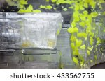 Small photo of Natural mineral stone- sulphatic sulfur. Crystal of native sulfur in plaster