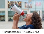 young woman protester standing... | Shutterstock . vector #433573765