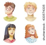 watercolor people icons set.... | Shutterstock . vector #433574335