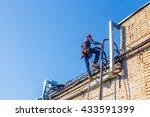 industrial climber climbs up... | Shutterstock . vector #433591399