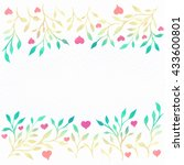 flower watercolor.card with... | Shutterstock . vector #433600801