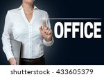 office touchscreen is operated... | Shutterstock . vector #433605379