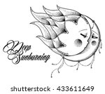 bohemian sun and moon. editable ... | Shutterstock .eps vector #433611649