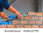 worker installing red brick for ... | Shutterstock . vector #433612795