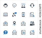 contact us icons set 1   blue... | Shutterstock .eps vector #433613695