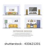 interior design. set of outline ... | Shutterstock .eps vector #433621201