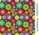 seamless pattern with flowers.... | Shutterstock .eps vector #433627429