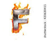 metal letter on fire. 3d... | Shutterstock . vector #433630411