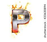 metal letter on fire. 3d...   Shutterstock . vector #433630894