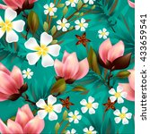 seamless floral pattern with... | Shutterstock .eps vector #433659541
