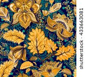 vintage seamless pattern.... | Shutterstock .eps vector #433663081