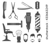 barber icon set with... | Shutterstock .eps vector #433663249