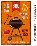 bbq open air party vintage...   Shutterstock .eps vector #433663291