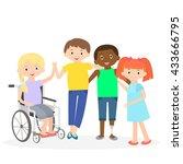 special needs children with... | Shutterstock .eps vector #433666795