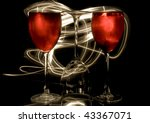 glasses of red wine in the rays ... | Shutterstock . vector #43367071