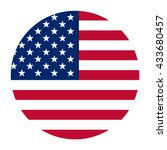 Simple Vector Button Flag   Usa