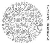 coffee vector set. line many... | Shutterstock .eps vector #433696741