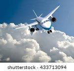 airplane clouds  3d rendering | Shutterstock . vector #433713094