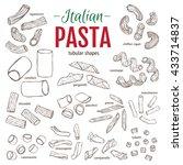 set of hand drawn italian pasta ... | Shutterstock .eps vector #433714837