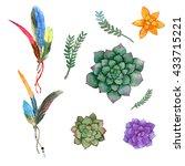hand drawn watercolor vibrant...   Shutterstock . vector #433715221