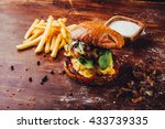 double hamburger with sauce and ... | Shutterstock . vector #433739335