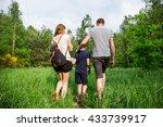 nature loving family makes walk ... | Shutterstock . vector #433739917